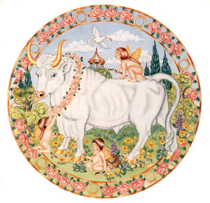 Astrology Illustration of Taurus Zodiac Sign